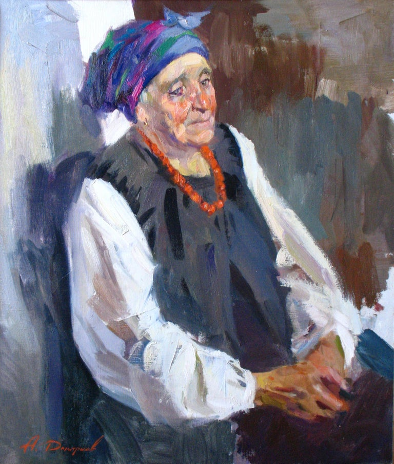 """""""Woman's Thought"""" is a figurative Painting by the impressionist Maestro Dmitriev Alexey Olegovich.  About the artwork:  TECHNIQUE:  oil painting STYLE: Impressionist, Contemporary Edition : Unique, signed Weight: Approximately 2 kg.  The painting is"""