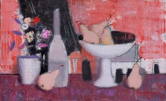 Not Evening Yet - Still Life Painting Colors White Red Blue Pink Pastel Brown