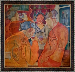 In The Pub - Interior Figurative Painting oil canvas Red Orange Blue Grey White