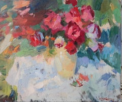 July Roses - Still-Life Painting Oil Canvas Red Blue Yellow Green White Purple