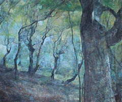 Enchanted forest  - Landscape Painting Oil Canvas Green Blue Grey Brown Yellow