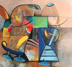 Talian I - Figurative acrylic Painting Yellow Blue Brown White Red Black