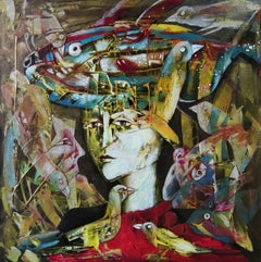 Tenec II - Figurative acrylic Painting Yellow Blue Brown White Red Black