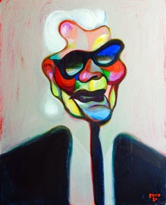 Karl - Portrait Painting Acrylic Colors White Red Blue Black Yellow Pink
