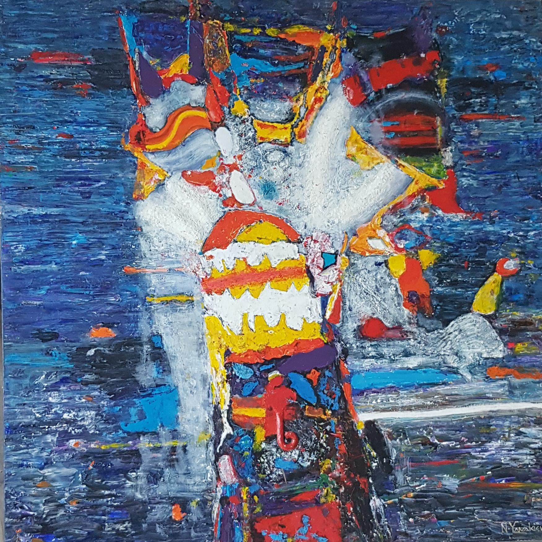 Carnival - Abstract Painting Colors Blue Yellow Orange Black Green Red White