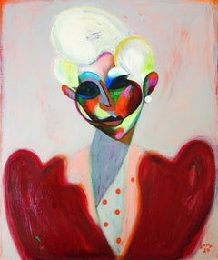 Hi Society Lady - Portrait Painting Acrylic White Red Blue Black Yellow Pink