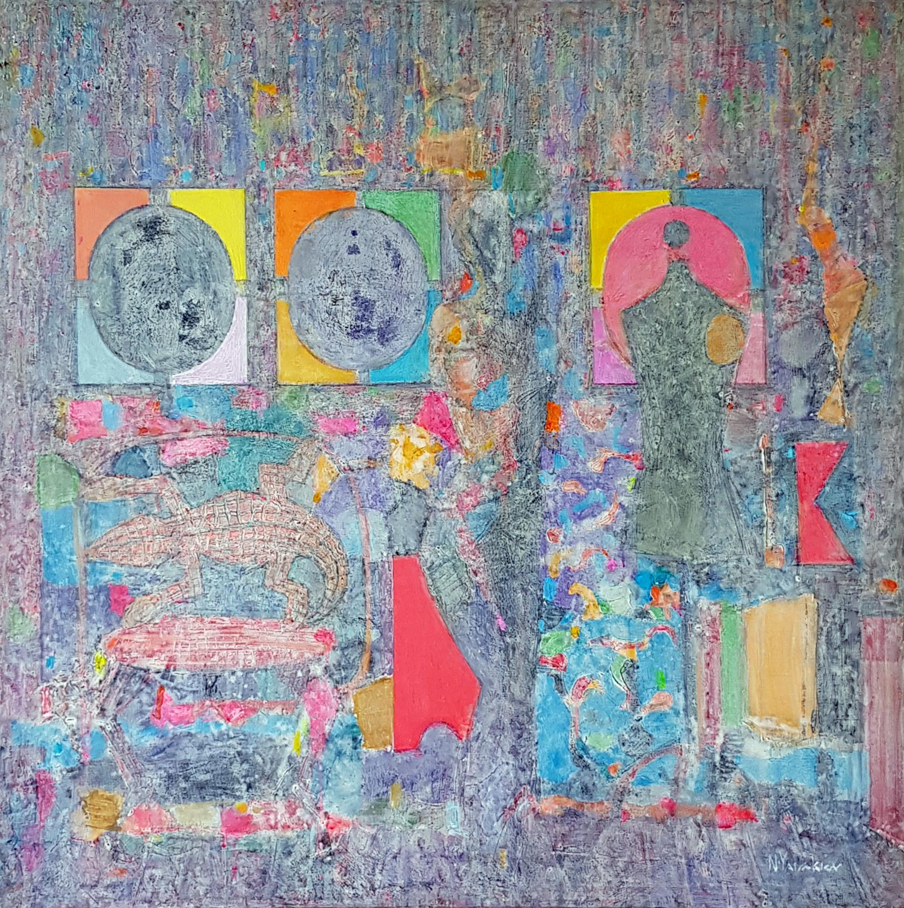 Composition I - Abstract Painting Colors Purple Blue Grey Yellow Green Pink Red