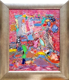 Old Gramophone - Abstract Painting Orange Green Blue Turquoise Pink Red White