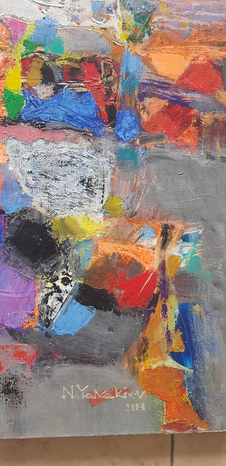 A la Lumiere  - Abstract Painting Purple Blue Grey Yellow Green Pink Red White For Sale 6