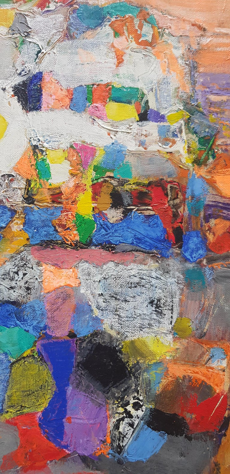 A la Lumiere  - Abstract Painting Purple Blue Grey Yellow Green Pink Red White For Sale 3