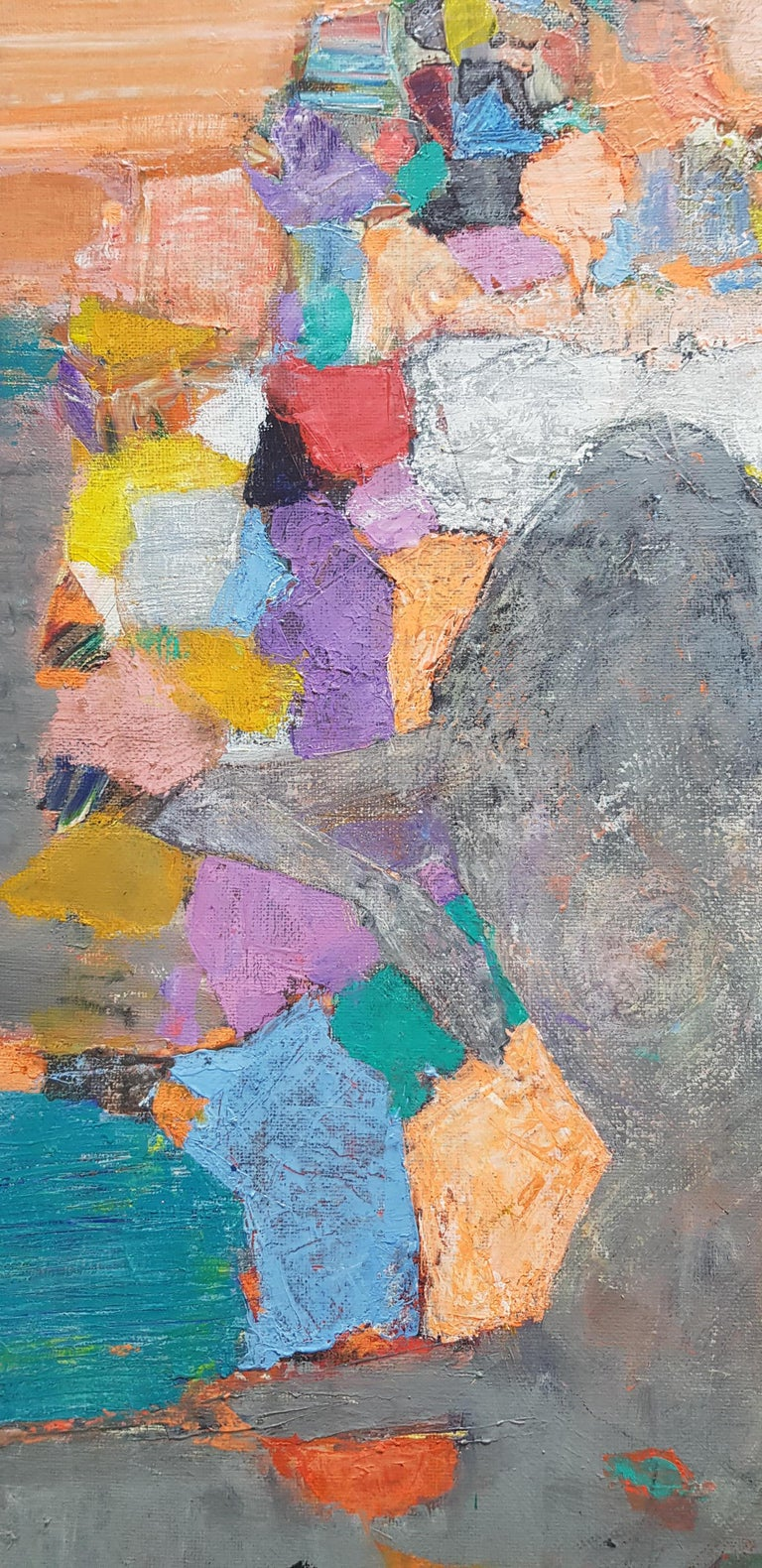 A la Lumiere  - Abstract Painting Purple Blue Grey Yellow Green Pink Red White For Sale 4