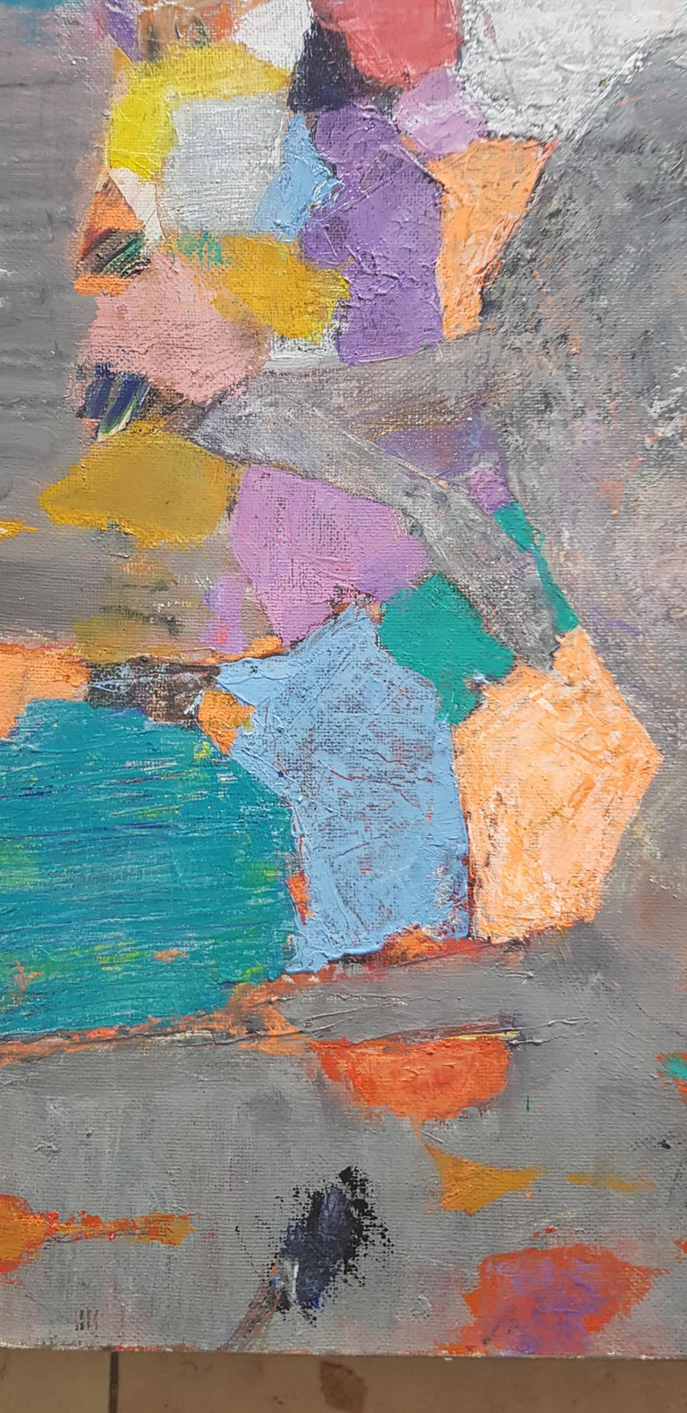 A la Lumiere  - Abstract Painting Purple Blue Grey Yellow Green Pink Red White For Sale 5