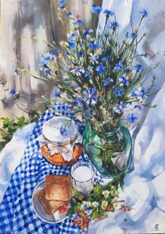 Corn Flowers - Still Life Painting Colors Blue White Green Red