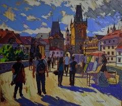 Charles Bridge Prague - Landscape Painting Colors Blue Yellow Grey Black Brown