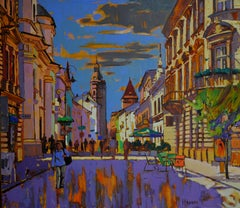City Of Contrasts - Landscape Painting Color Blue Yellow Grey Black Orange Green