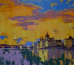 Budapest - Landscape Painting Color Blue Yellow Grey Black Orange