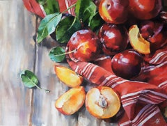 Plum Mood - Still Life Painting Colors Grey Yellow White Green Red Orange
