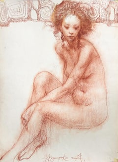 At The Painting School -  Charcoal on Paper Red Grey Color