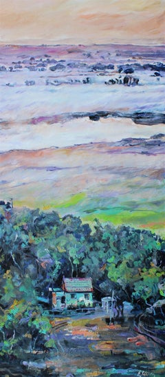 Privacy - Landscape Painting Oil Canvas Green Blue Yellow Brown Yellow Purple