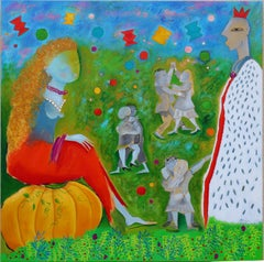 Cinderella's ball - French Artist large Painting Red White Blue Orange Green