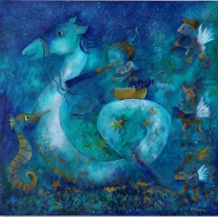 The Great Sea Ride - Large Painting White Blue Brown Yellow Green