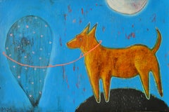 The Yellow Dog and The Balloon - Painting Colors Blue Brown Yellow White Black