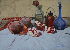 Pomegranate slices - Painting Colors White Red Blue Pink Pastel Brown Purple