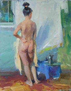 Summer Day - Nude body Painting Oil Canvas Blue Yellow Green White Beige Brown