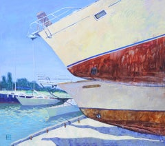 Ingulsky Coast - Oil Painting Canvas Blue Grey White Brown Black