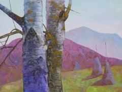 Carpathian Aspen - Oil Painting Canvas Blue Grey White Brown Black
