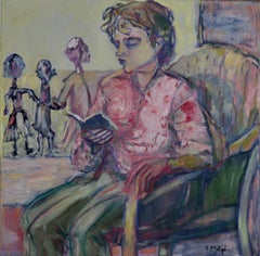 Reading - Acrylic Figurative Painting Colors Pink Green White Blue Brown