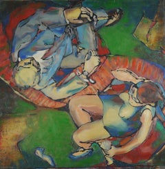 Face-to-face - Acrylic Figurative Painting Green Red White Blue Brown Yellow