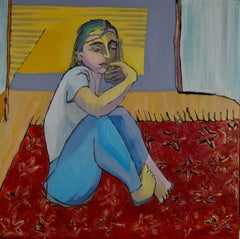 Lonely Girl - Acrylic Painting Red Beige White Blue Brown Black Yellow