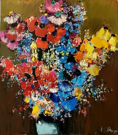 Large Bouquet - Armenian Artist Landscape Yellow White Red Blue Pink Brown