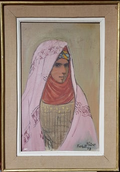 Portrait of a Tuareg Girl Painting Oil Canvas Red Brown Pink White Green Purple