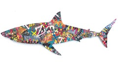 """Street Shark"" Colorful Mixed Media Work on Dibond by French Street Artist"