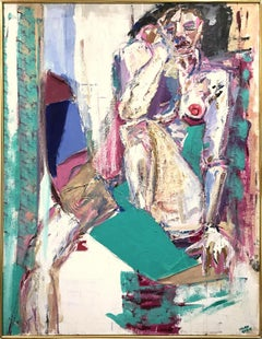 """""""Modernist Nude"""" Mid Century Bold Colorful Abstract Nude Painting Oil on Canvas"""