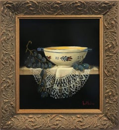 """Quimper Bowl & Black Grapes"" Realist Still Life Oil Painting on Wood Panel"