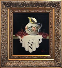 """Quimper Creamer, Red Grapes & Cloth"" Still Life Oil Painting on Wood Panel"