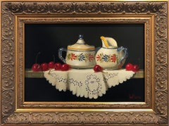 """Quimper Creamer & Sugar with Cherries"" Still Life Oil Painting on Wood Panel"
