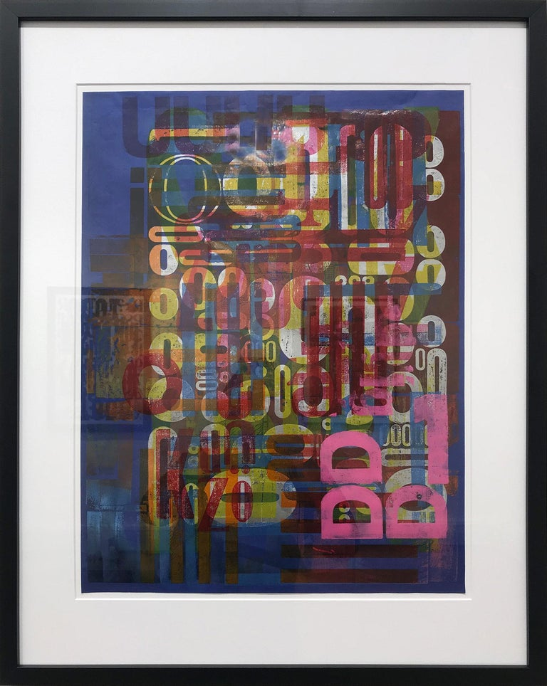 "Ro Barragan Abstract Painting - ""Words on Blue #1"" Traditional Wooden Typography on Reclaimed Poster Paper"