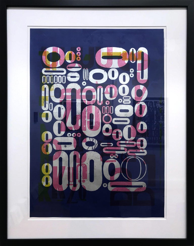 """Ro Barragan Abstract Painting - """"Words on Blue #2"""" Traditional Wooden Typography on Reclaimed Poster Paper"""