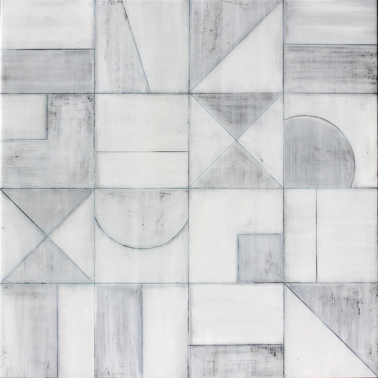 """Christie Owen Abstract Painting - """"Geometric 3077"""" Abstract Mixed Media Layered Composition on Baltic Birch Panel"""