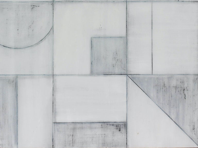 This piece depicts an abstract composition with the use of mixed media and bold patterns producing a work that is visually textured and rich with layers, as Owen creates an intricate geometric minimalistic composition. Even though this work has a