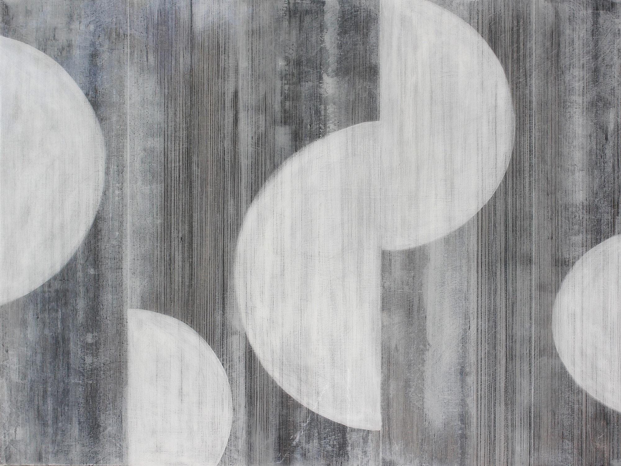 """""""Half Moons 3078"""" Abstract Layered Mixed Media Composition on Baltic Birch Panel"""
