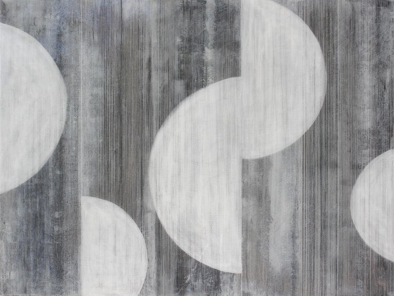 """Christie Owen Abstract Painting - """"Half Moons 3078"""" Abstract Layered Mixed Media Composition on Baltic Birch Panel"""