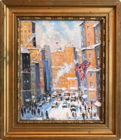 """""""Off 5th Av. New York City"""" Impressionist Winter Scene Landscape Oil Painting"""