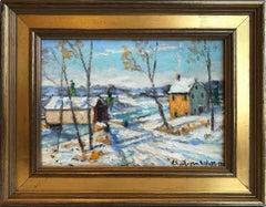 """Upper Bucks Pa"" Bucks County Pastoral Winter Snow Scene Landscape Oil Painting"