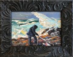 """Lobster Pots"" Gloucester Massachusetts Seashore Scene Oil Painting with Figure"