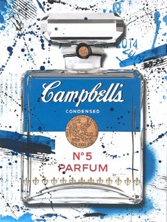 """""""Campbell's CHANEL N°5 Parfum Blue Bottle"""" Work on Paper by French Street Artist"""